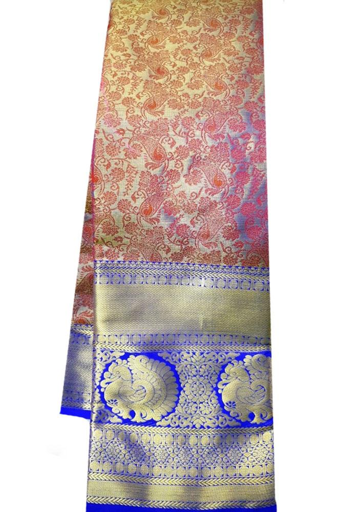 Pink Handloom Kanjeevaram Pure Silk Saree With Big Border
