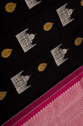Black Handloom Kanjeevaram Pure Silk Taj Mahal Design Saree Without Border - Luxurionworld