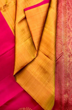 Yellow and Pink Handloom Kanjeevaram Pure Silk Half And Half Saree Without Border
