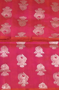 Pink Handloom Kanjeevaram Pure Silk Jhumka Design Saree Without Border - Luxurionworld