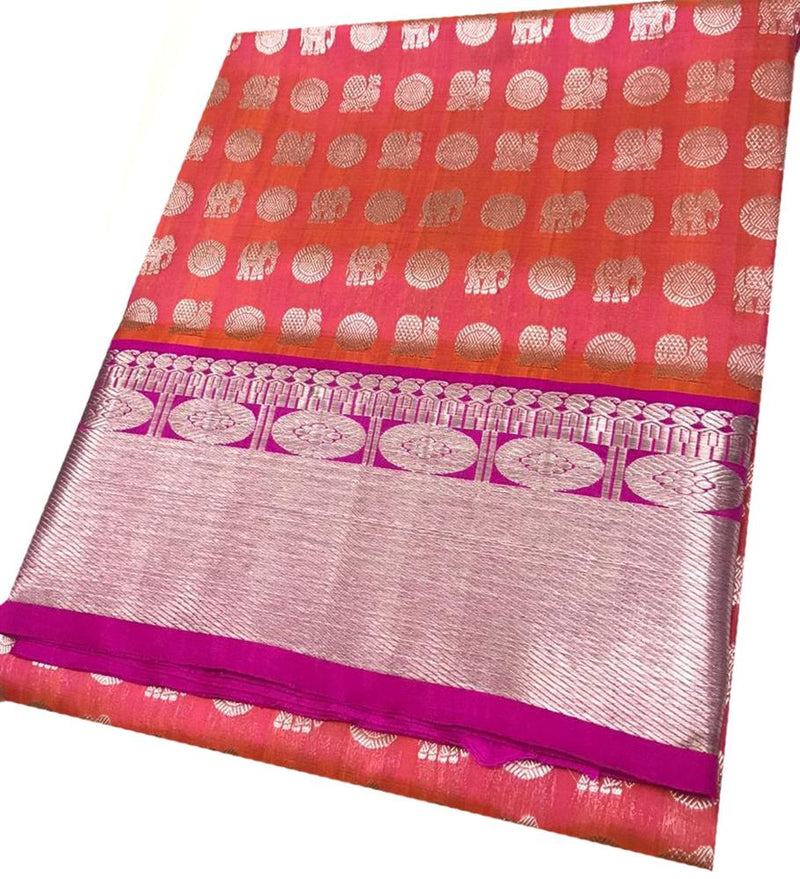 Pink and Orange Shot Color Handloom Venkatgiri Silk Saree