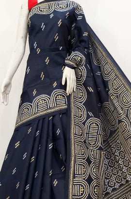 Black  Hand Embroidered Gujrati Kantha Banglore Silk Saree - Luxurionworld