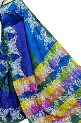 Blue Hand Embroidered Kantha Bishnupuri Katan Silk Saree