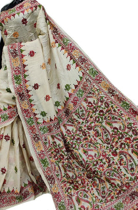 Pastel Hand Embroidered Kantha Gachhi Tussar Silk Saree