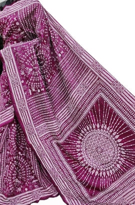Purple Hand Embroidered Kantha Pure Bangalore Silk Saree