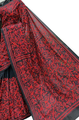 Red and Black Hand Embroidered Kantha Pure Bangalore Silk Saree