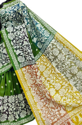 Green Hand Embroidered Kantha Bishnupuri Katan Silk Saree