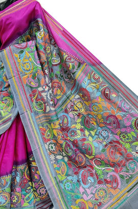 Pink Hand Embroidered Kantha Bishnupuri Katan Silk Saree
