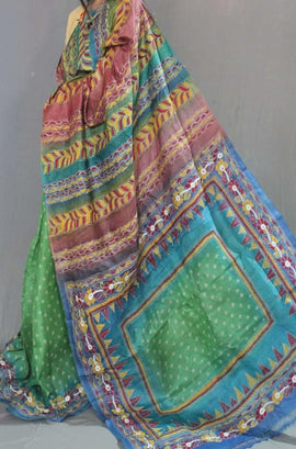 Multicolor Hand Embroidered Kantha Tussar Silk Saree