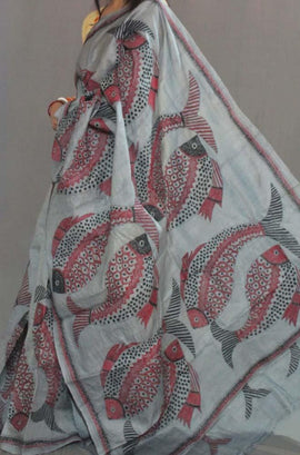 Grey Hand Embroidered Kantha Tussar Silk Saree