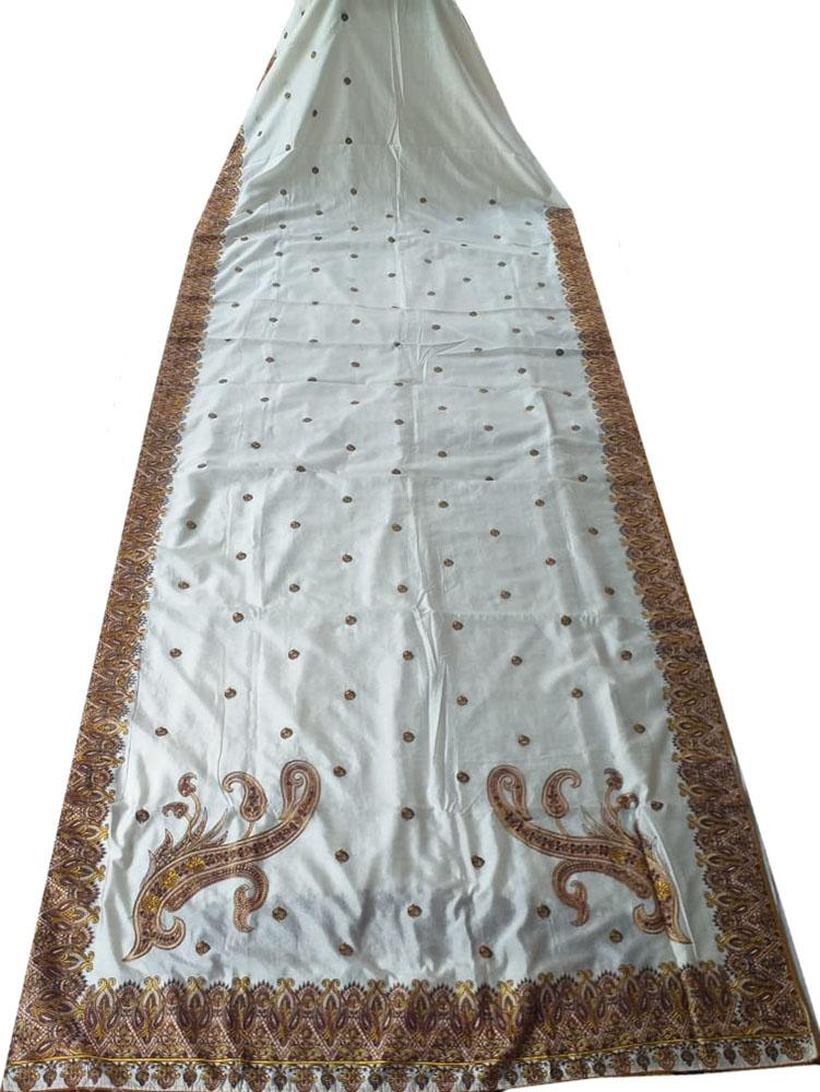 Off White  Embroidered Kashmiri Aari Work Crepe Saree - Luxurionworld