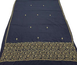 Black  Embroidered Kashmiri Aari Work Crepe Saree
