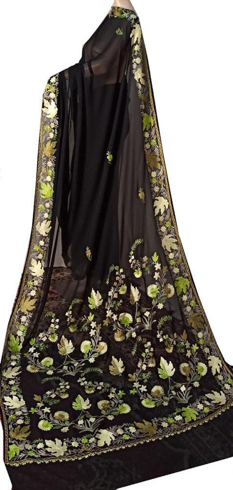 Black Embroidered Kashmiri Aari Work Georgette Saree