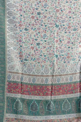 Pastel  Kashmiri Kani Work Pure Silk Saree