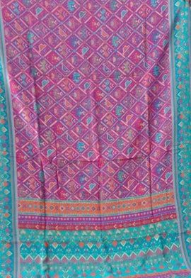 Multicolor  Kashmiri Kani Work Pure Silk Saree - Luxurionworld
