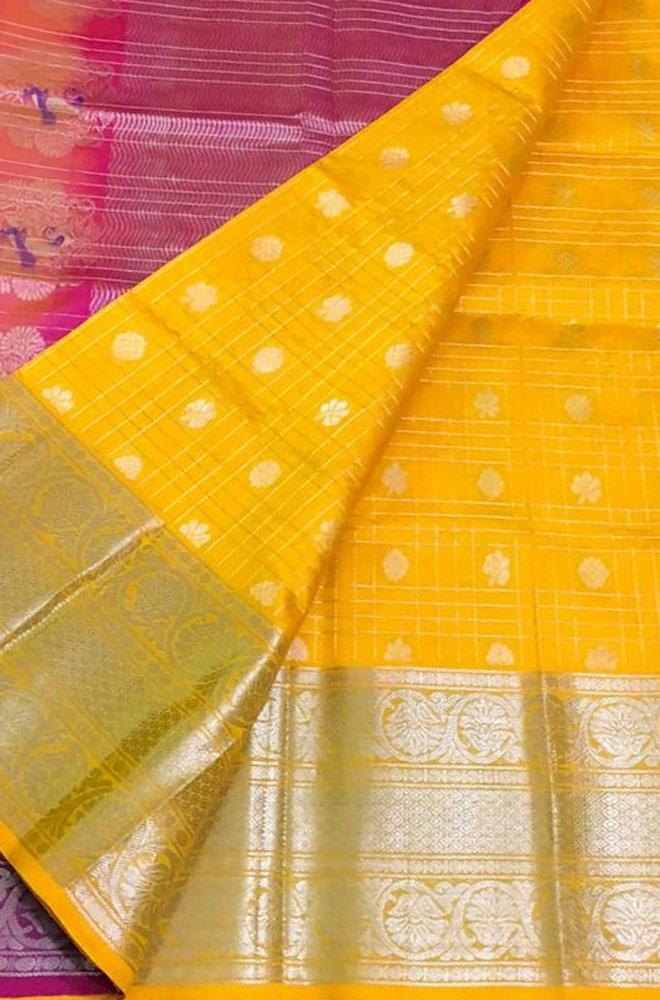 Yellow Checks Handloom Kuppadam Silk Saree With Big Border