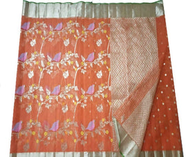 Orange Handloom Kota Doria Saree