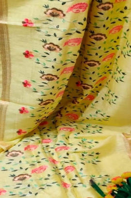 Yellow Linen Silk Embroidered Saree