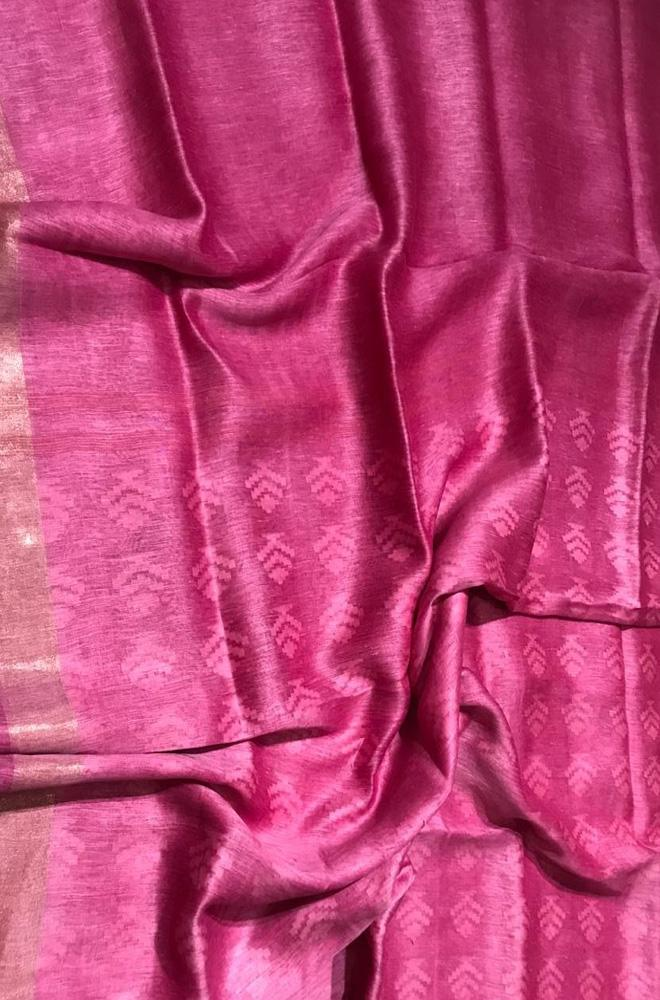 Pink Handloom Pure Linen Silk Plain Saree