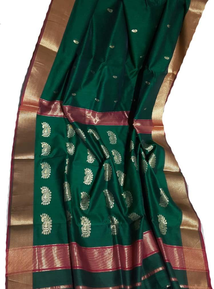 Green  Handloom Maheshwari Silk Saree