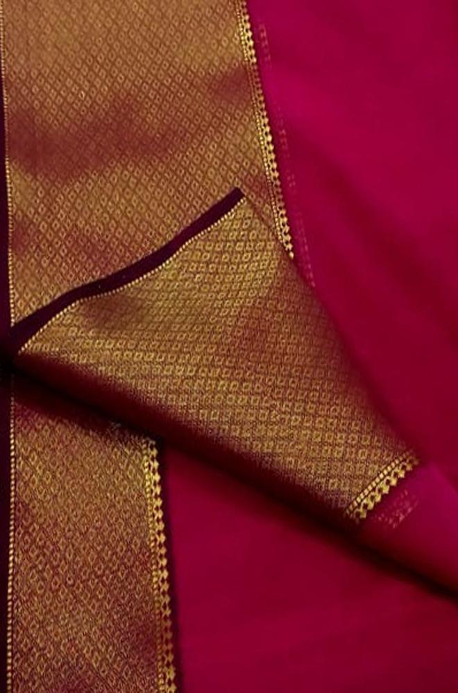Pink Handloom Maheshwari Silk Cotton Saree - Luxurionworld