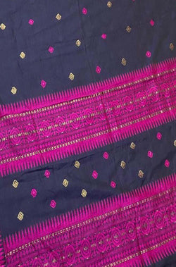 Blue Handloom Assami Pat Cotton Saree