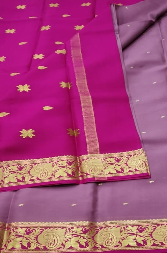 Pink Handloom Mysore Crepe Silk Saree - Luxurionworld