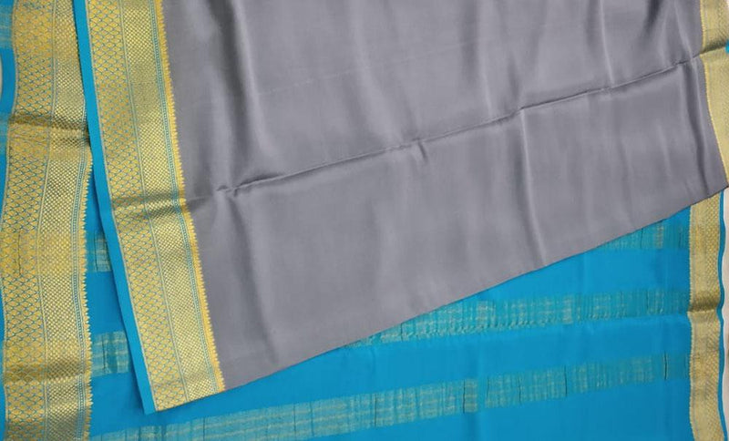 Grey Handloom Pure Mysore Crepe Silk Plain Saree - Luxurionworld