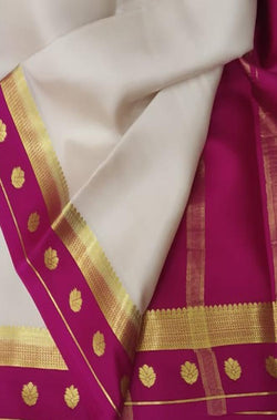 Off White Handloom Pure Mysore Crepe Silk Plain Saree With Contrast Border - Luxurionworld