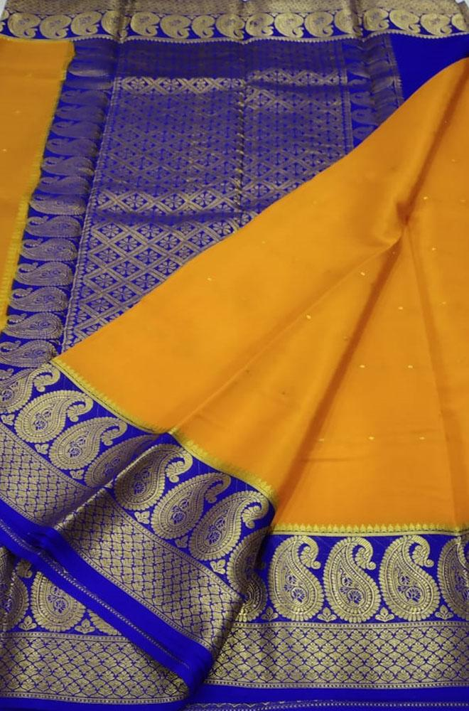 Orange Handloom Mysore Crepe Silk Saree - Luxurionworld