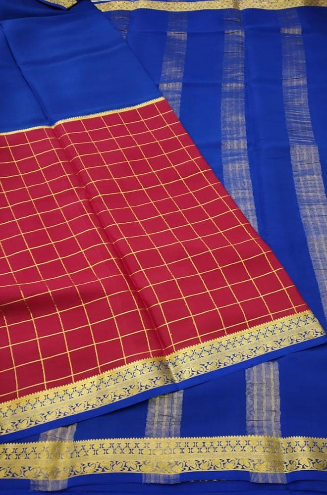 Red Checks Handloom Pure Mysore Crepe Silk Saree - Luxurionworld