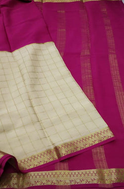 Off White Checks Handloom Pure Mysore Crepe Silk Saree - Luxurionworld
