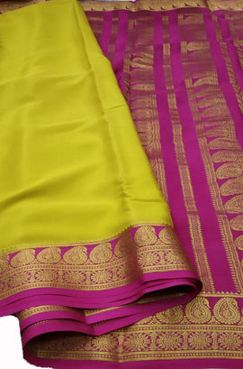 Yellow Handloom Mysore Crepe Silk Saree - Luxurionworld