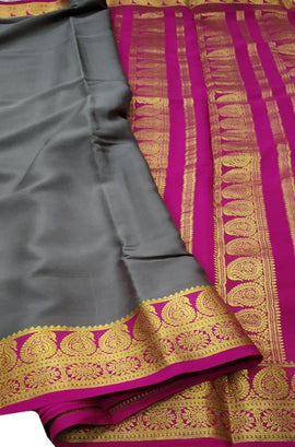 Grey Handloom Mysore Crepe Silk Saree - Luxurionworld
