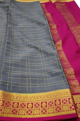 Grey Handloom Mysore Crepe Silk Checks Saree