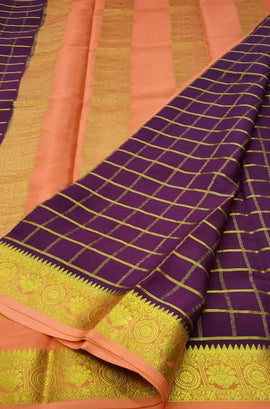 Purple Handloom Mysore Crepe Silk Checks Saree