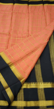 Pastel Handloom Mysore Crepe Silk Checks Saree