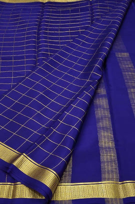 Blue Handloom Mysore Crepe Silk Checks Saree
