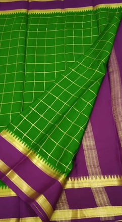 Green Handloom Mysore Crepe Silk Checks Saree