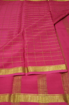 Pink Handloom Mysore Crepe Silk Checks Saree