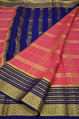 Pink Checks Handloom Mysore Crepe Silk Saree