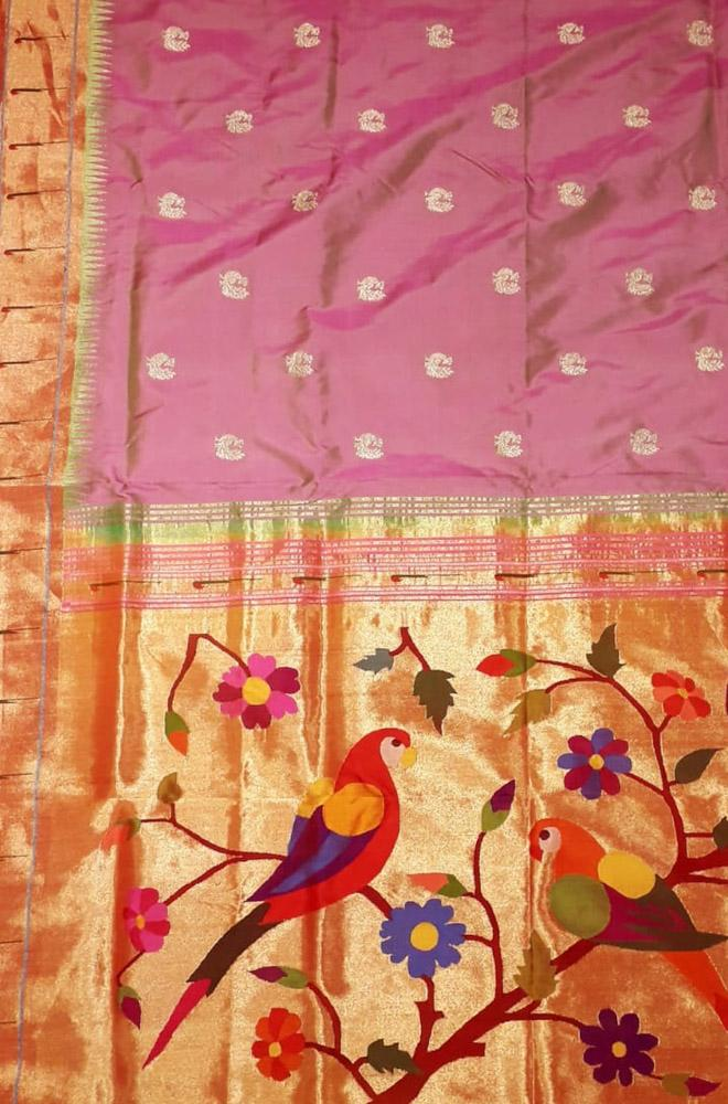 Pink Handloom Paithani Pure Silk Muniya Border Saree With Flower & Bird Design Pallu