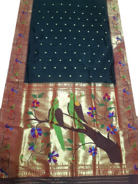 Black Handloom Paithani Pure Silk With Flower and Bird Design Pallu Saree With Double Muniya Border