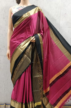 Pink Paithani Semi Silk Saree - Luxurionworld