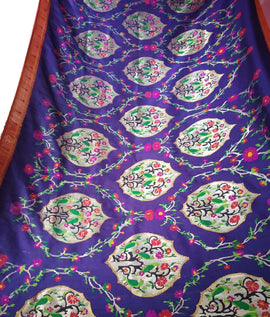 Blue Handloom Paithani Pure Silk Muniya Border Saree
