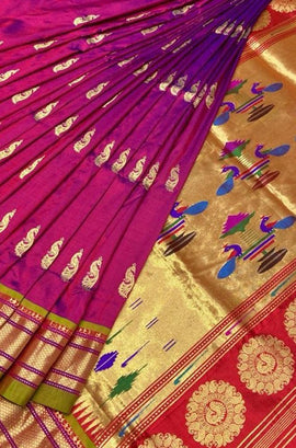 Pink Shot Color Handloom Paithani Pure Silk Peacock Design Saree