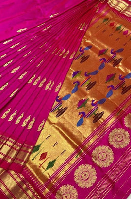 Pink Handloom Paithani Pure Silk Peacock Design Saree
