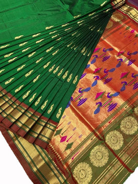 Green Handloom Paithani Pure Silk Peacock Design Saree - Luxurionworld