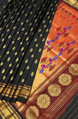 Black Handloom Paithani Pure Silk Peacock Design Saree - Luxurionworld