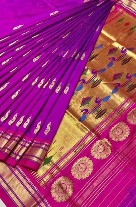 Purple Handloom Paithani Pure Silk Peacock Design Saree - Luxurionworld